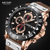 Megir 크로노 그래프 스포츠 남성 시계 브랜드 럭셔리 가죽 쿼츠 시계 남성 시계 손목 시계 relogio masculino reloj hombre
