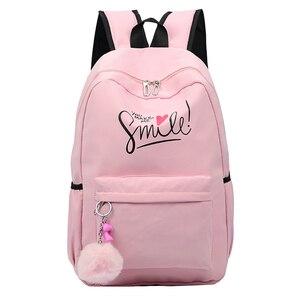 Image 1 - Preppy Style Fashion Women School Bag Brand Travel Backpack For Girls Teenagers Stylish Laptop Bag Rucksack girl schoolbag