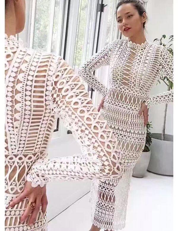 87005fcbfd7d7 Midi elbise Ücretsiz Kargo 2018 sonbahar Bir ince iki parçalı uzun kollu  bej beyaz dantel kadınlar pist seksi casual parti zarif balo