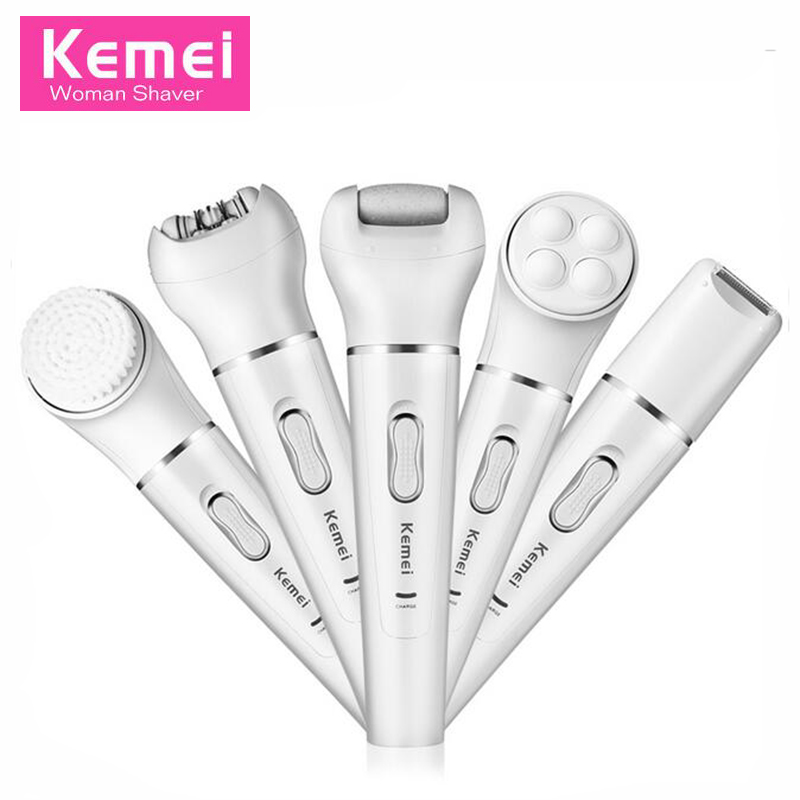 5 in1 Women Epilator Electric Face Remover Hair Removal Facial Depilation Epilation Female Depilatory Razor Lady Shaver KM-2199 5 in 1 women shaver wool device electric shaver razor women epilator shaving lady s shaver callus remover facial cleansing brush