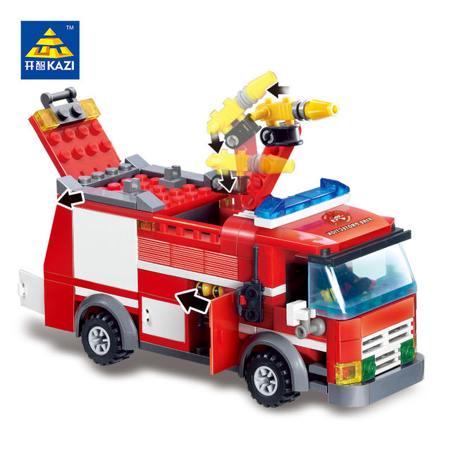 kazi 8054 feu camion pompier blocs de construction pompier jouets ducatifs bricolage briques playmobil blocs enfant - Playmobil Pompier