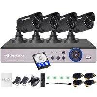 DEFEWAY 4ch NVR Kit For IP Camera 4ch 960H Video Surveillance DVR KIT 4X800TVL Outdoor Camera