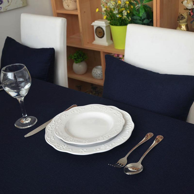 Classical Minimalist 100 Cotton Solid Navy Blue Color Tablecloth Table Dustproof Cloth Cabinet Cover for Hotel Home Decoration in Tablecloths from Home Garden