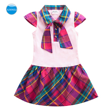 JUXINSU Toddler Girls Short Sleeve Dresses Children Flower Kids Clothing Summer Lattice Woven cotton Dress for 1-5 Years