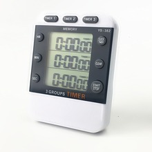 Digital LCD Kitchen Timer Cooking 3 Channel Display Hour / Minute Second AM PM Tool