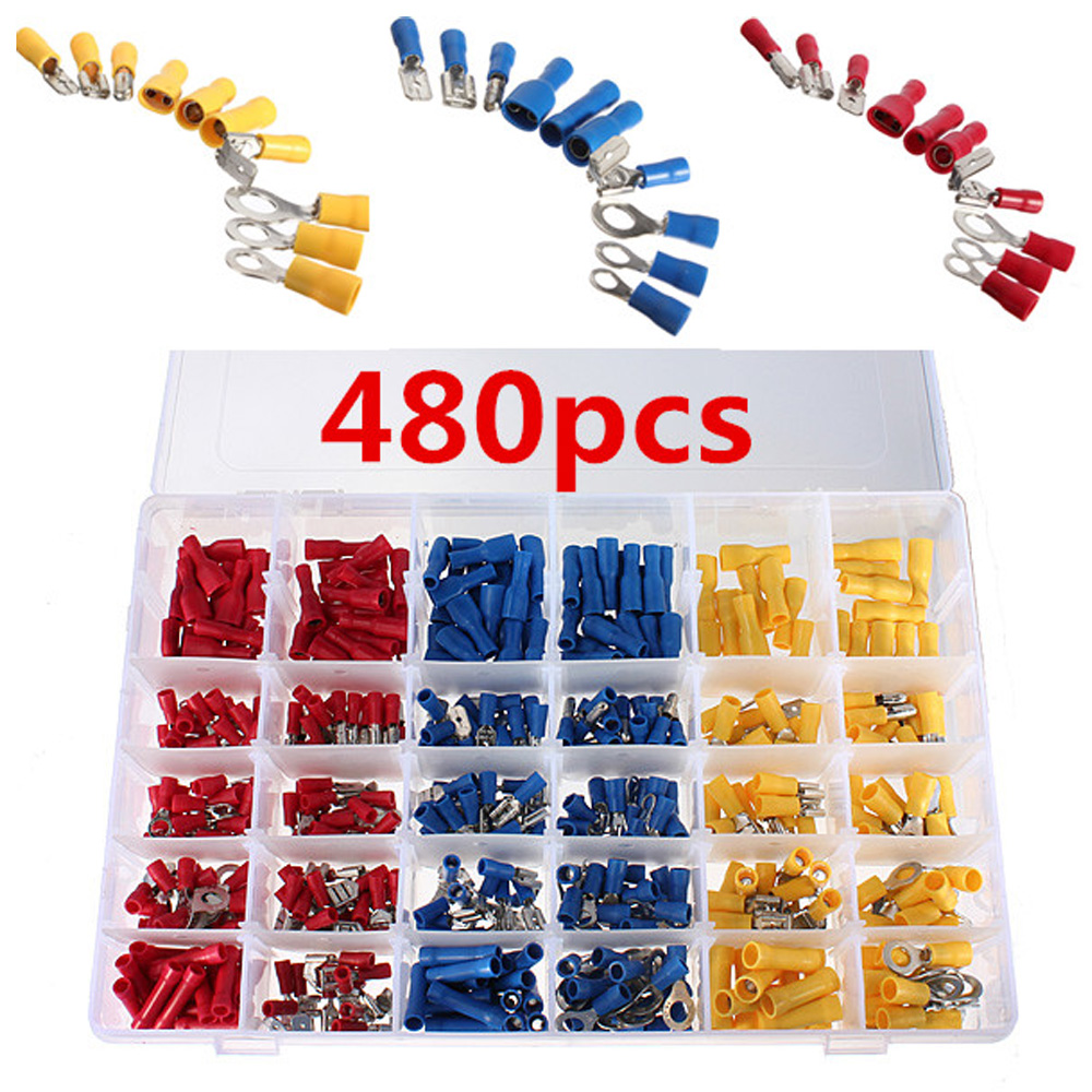 Colorful 480pcs Insulated Terminals Electrical Crimp Connector Butt Spade Ring Fork Set Hot Sale сумка kate spade new york wkru2816 kate spade hanna