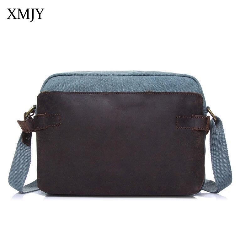 XMJY Mens Canvas Shoulder Bag Fashion Vintage Messenger Bags Canvas with Crazy horse leather High Quality Travel Crossbody Bag