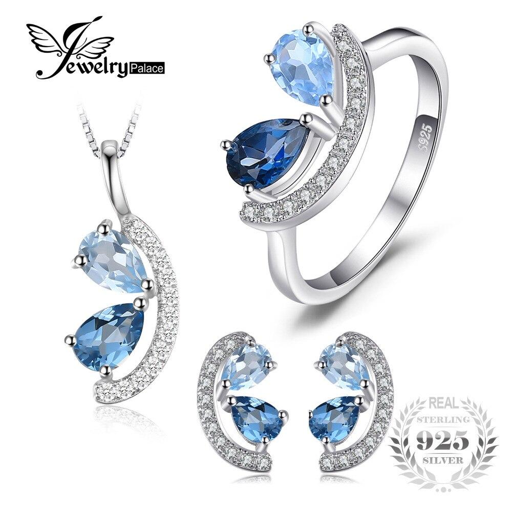JewelryPalace 2.8ct Genuine Céu, London Blue Topaz Cluster Pingente de Colar Brincos Anel Conjuntos de Jóias de Prata Esterlina 925