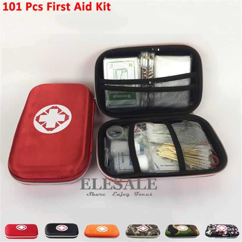 6/Color 101Pcs Person Portable Outdoor Waterproof EVA First Aid Kit For Family Or Camping Travel Emergency Medical Treatment outdoor travel kit blue waterproof band aid metal detective food bandage blue color for food processing l 015