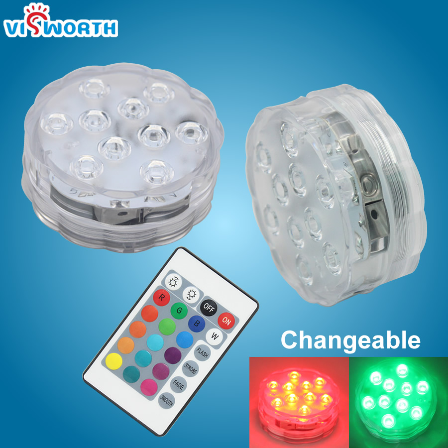 RGB Submersible LED Underwater Light+Remote Control IP68 Waterproof LED Lamp Swimmming Pool Light For Vase Wedding Party,Bathtub
