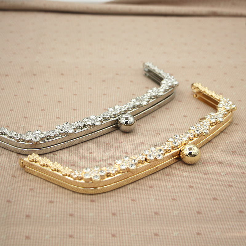 10 pcs per Lot 22 cm Gold Silver Metal Purse Frame Crystal On Surface Sewing Purse Frame Bag Handle DIY Accessories Obag Handle