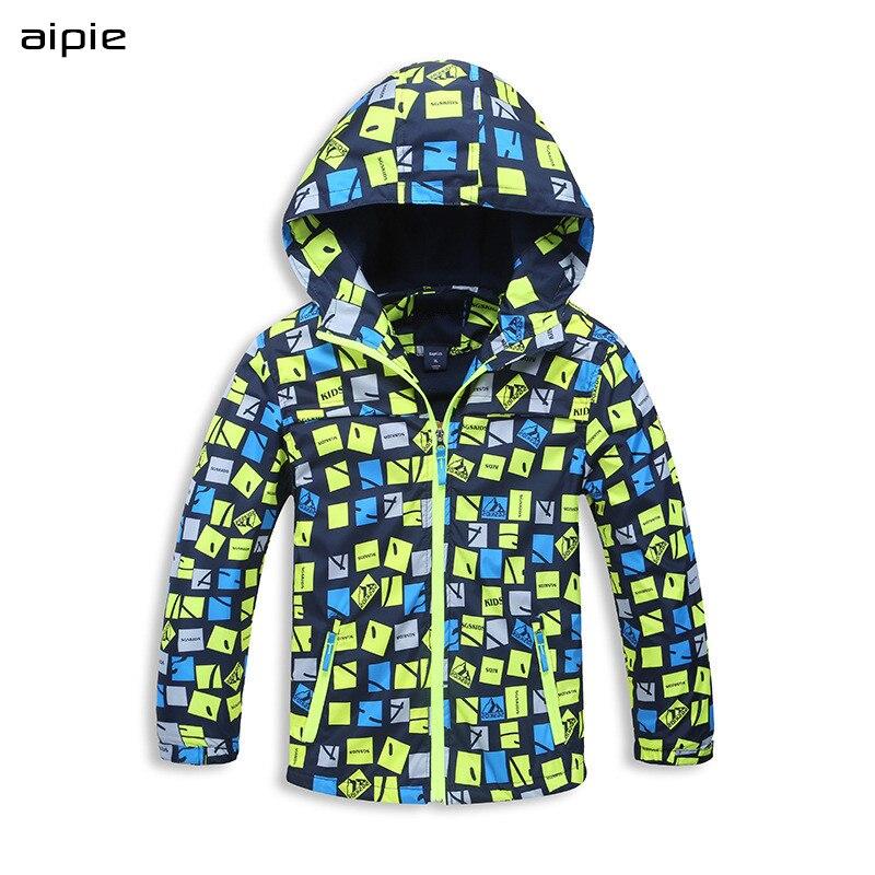 Aipie поощрение детей мальчика спортивные куртки Двойная Ткань Теплая и предотвратить ветер Дети с капюшоном пальто Одежда для На возраст 4 -12 лет дети