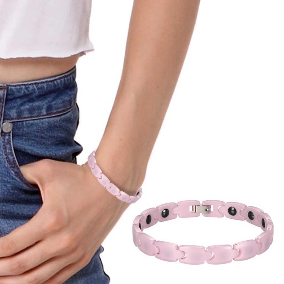 RainSo Pink Charm pulseras para niña hematita magnética pulsera de cerámica para las mujeres 2019 gran oferta de joyería de moda femenina de holograma