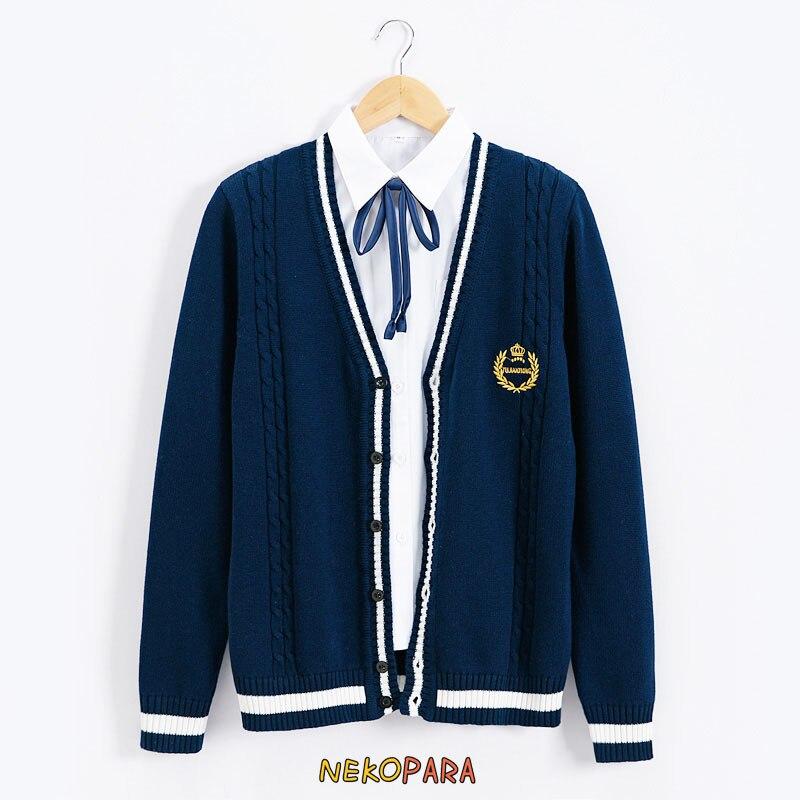 Cardigans Sweaters Dashing Girls&boys Preppy Style Japanese Student Uniform Style Jk Sweater Long Sleeve Deep V-neck Cardigan Crown Embroidery Yet Not Vulgar