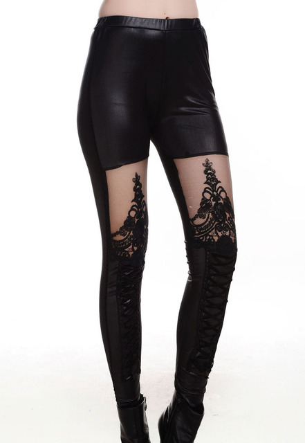 2015 New Arrival Print Regular Embroidery Hollow Out Punk Black Lace-up Faux Leather Gothic Tight Pant Free Shipping GY79311