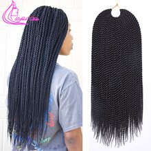 Refined Hair 14 18 22Inch 30Roots Senegalese Twist Crochet Hair Twist Braids Ombre Kanekalon Braiding Synthetic Hair for Braid cheap 30strands pack