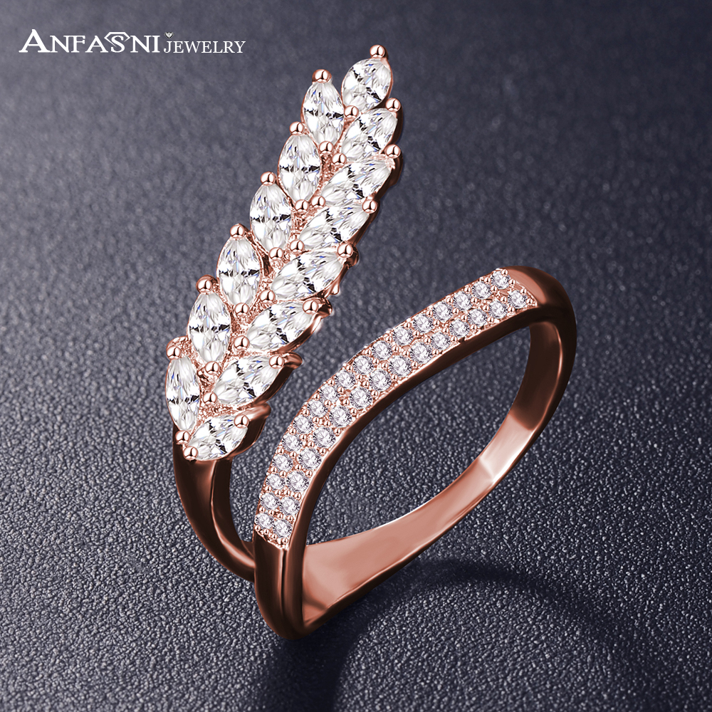 ANFASNI Fashion Wedding Engagement Rings For Women Leaf Shape with AAA Cubic Zircon Surround Jewelry Bijoux Wholesale CRI1041
