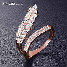 Anfasni moda boda Anillos de compromiso para las mujeres hoja forma con AAA cubic ZIRCON surround joyería bijoux al por mayor CRI1041