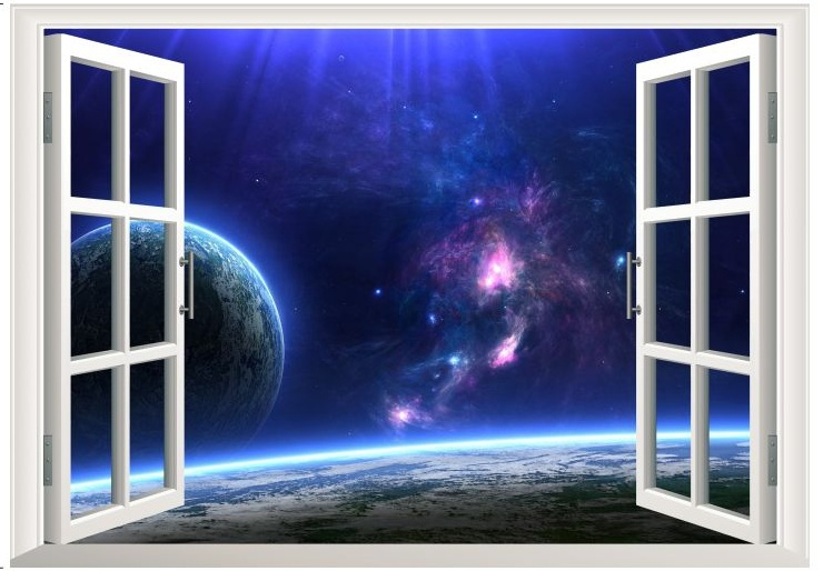 Creative Outer Space Earth D Window Wall Decal Sticker - 3d window wall decals