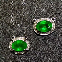 18k Gold Emerald Pendant Necklace Green Voal Natural Gemstone Pendant Necklace High Classic Fine Jewelry Birthday