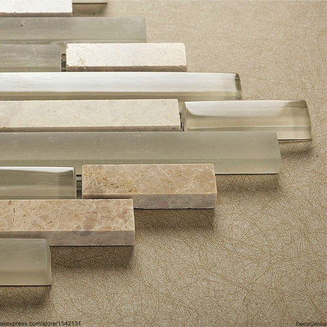 Light Grey Natural Stone Strip Mosaic Floor Tile Home Decorative Backsplash Wall