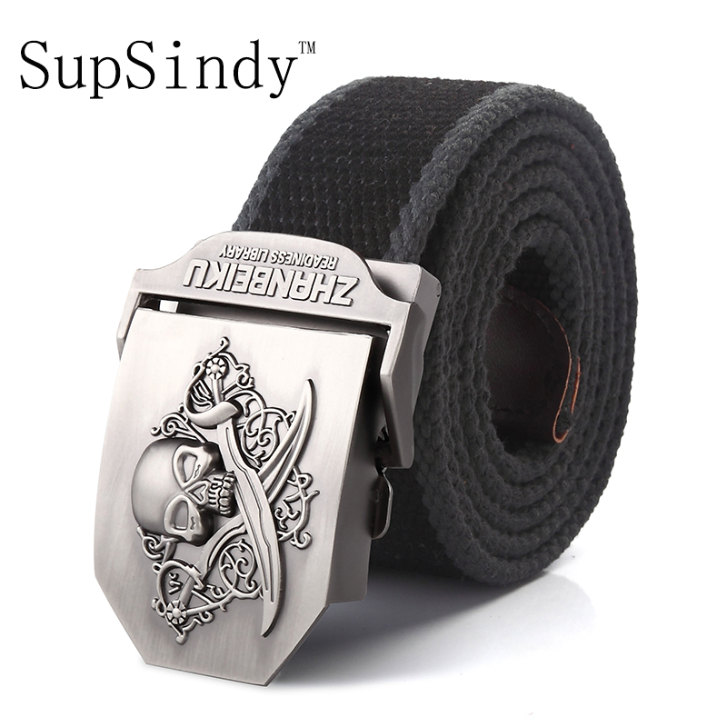 SupSindy canvas belt Pirate Skull Alloy buckle military men belt Army tactical belts for Men best quality Male strap Army green