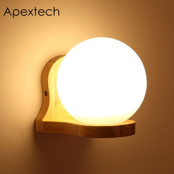 Apextech Bedside Wall Lamp Wood+ Sphere Glass Bedroom Night Lights E27 Socket Nordic Indoor Hotel TV-Wall Decoration Wall Lamps sphere