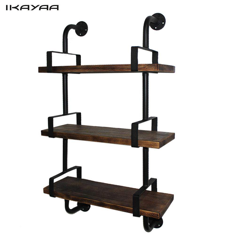 Wasserrohr Regal Ikayaa 3 Tier Rustikalen Industriellen Eisen Rohr Wand Regale Holz Planken Bücherregal Lagerung Schwimmende Regal Für Heim Uns Fr De Lager|wall Shelf|floating Shelfshelf Wood - Aliexpress