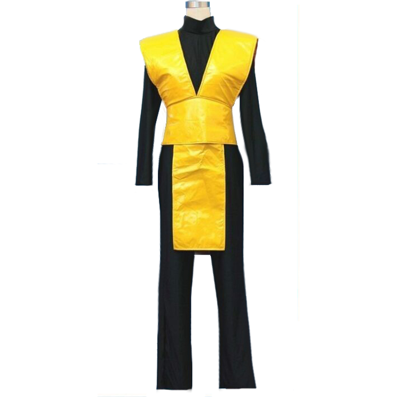 Mortal Kombat Cosplay Scorpion Costume Uniform Yellow Black Suit Outfit Full Set