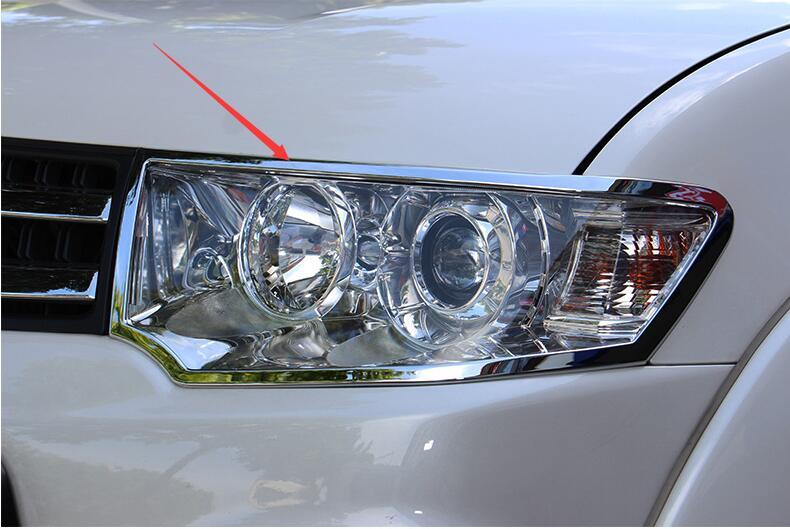 Utile Auto Faro Lampada Ombra Cornice Decorazione Frontale Lampada Cappe 2 Pz/set Per Mitsubishi Pajero Sport Challenger 2011 2012 2013 Vendite Economiche 50%