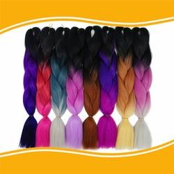Ombre kanekalon jumbo braiding hair 24inches synthetic two tone high temperature fiber jumbo braid hair.jpg 250x250