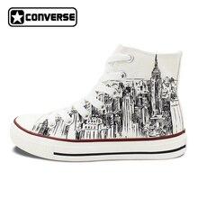 Пользовательские ручной росписью обувь Converse All Star я люблю Нью-Йорк город эскиз высокие кроссовки белого холста Для мужчин Для женщин рождественские подарки