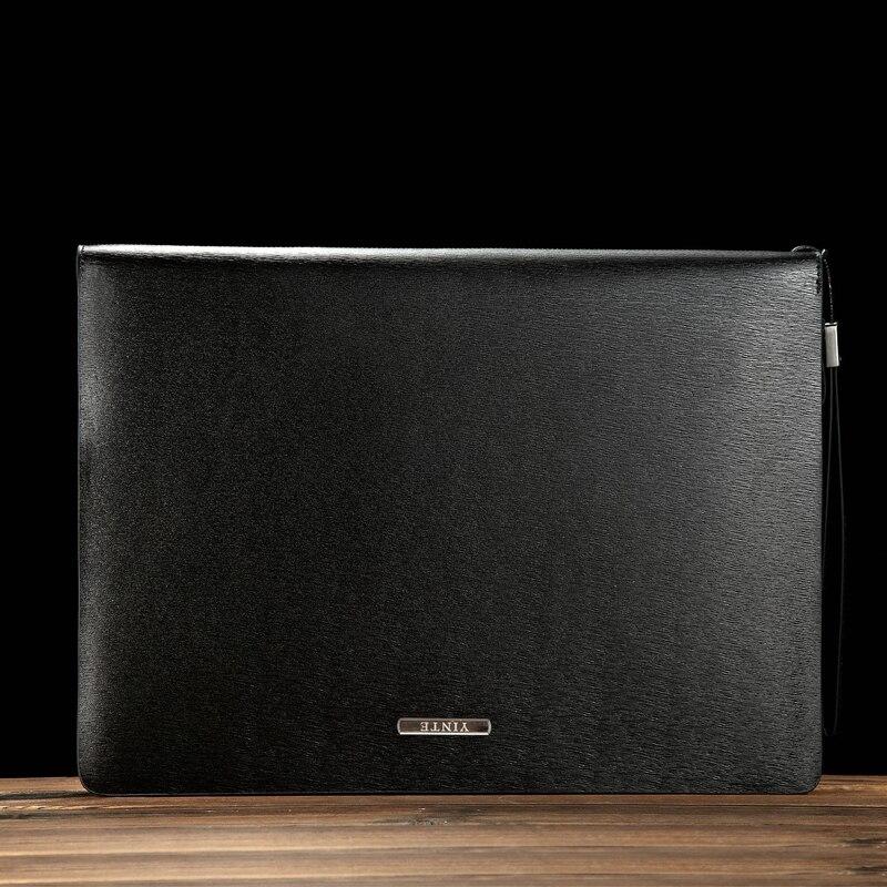 YINTE sac de dossier en cuir pour hommes A4 papier en cuir dossier de Document pochette portefeuilles d'affaires sac à glissière portefeuille T5480