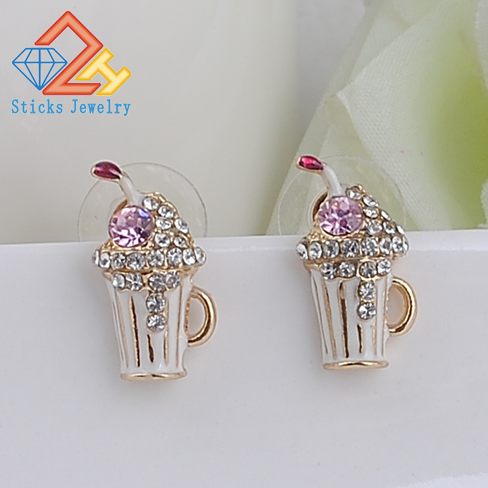 Female Summer Style Glass Shaped Earrings 2015 New Fashion Jewelry White Drip Jewelry, Free Shipping