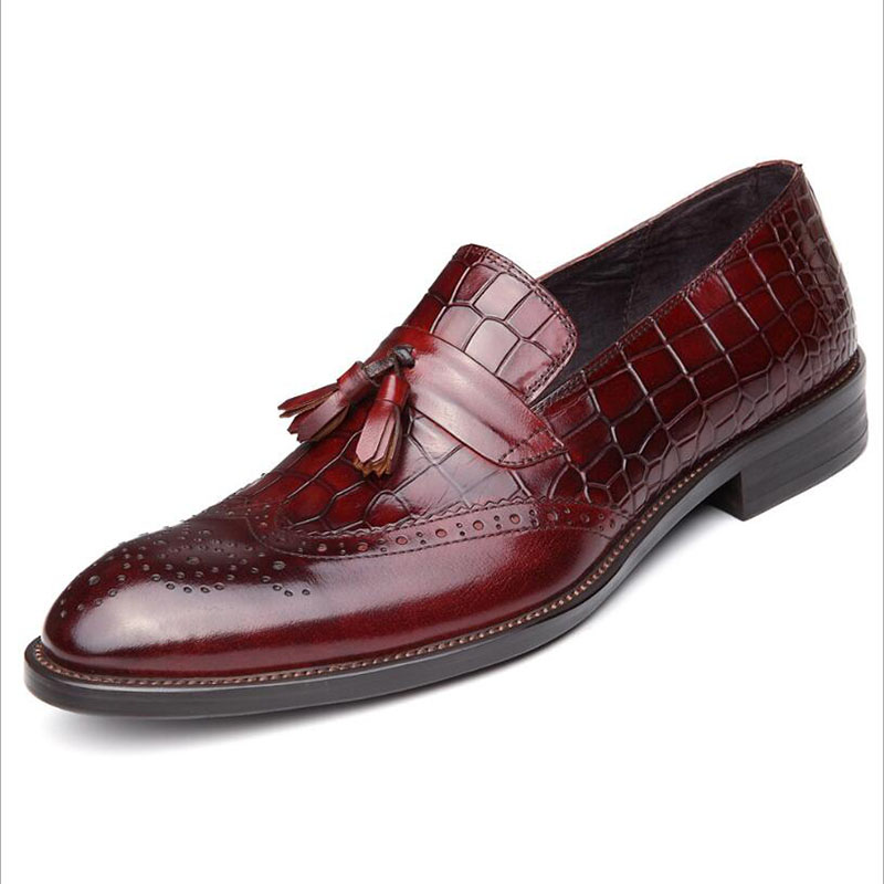 Men Shoes Crocodile British Style Flats Wedding Shoes Genuine Leather Evening Dress Luxury Brand Men's Loafers Sapato Masculino