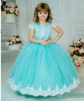 Well Designed Ball Gowns For Special Occasion Puffy Tulle Flower Girl Dress with Lace Appliques Bow Beading Short Sleeves Longo