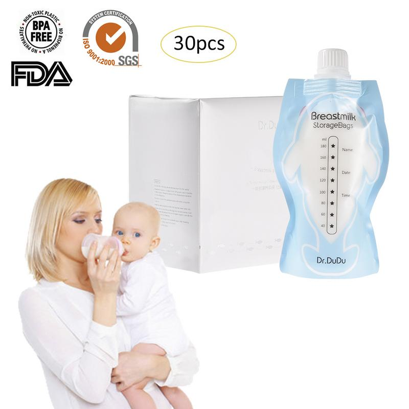 30pcs/kit 180ml Milk Freezer Double Zipper Bags Mother Milk Baby Food Storage Breast Milk Storage Bag Baby Reusable Food Pouch Low Price Prenatal & Postnatal Supplies Pregnancy & Maternity