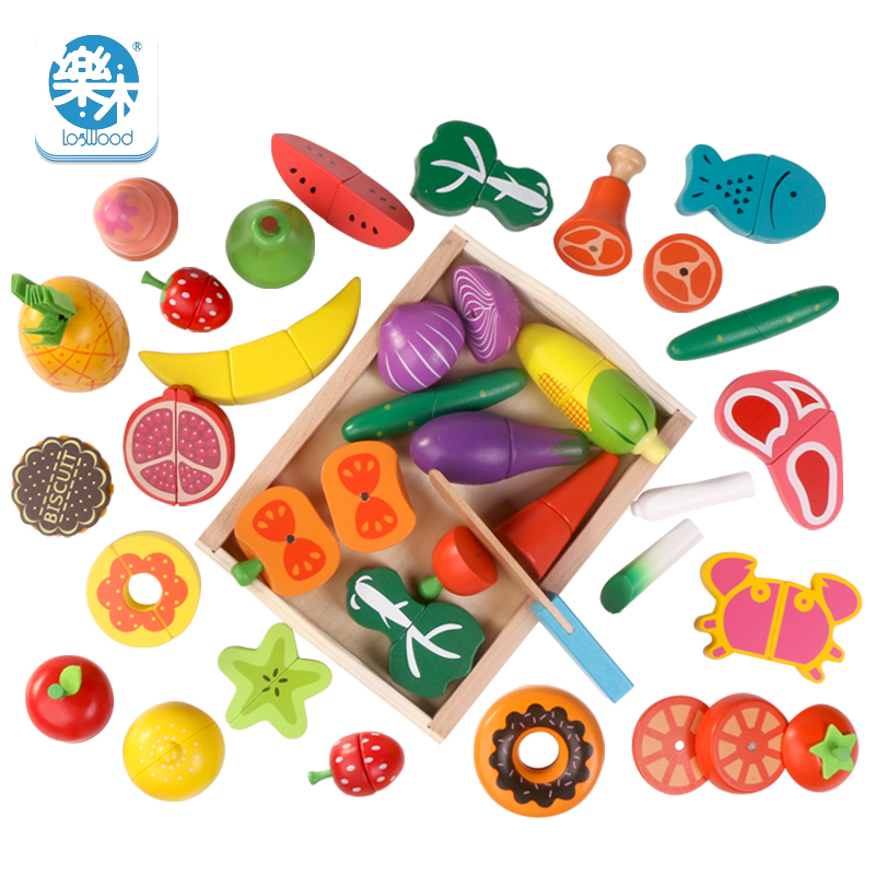 Logwood Wooden kids classic simulation kitchen toys cutting fruit and vegetable dessert Montessori Education toys gifts 50pcs hot sale wooden intelligence stick education wooden toys building blocks montessori mathematical gift baby toys