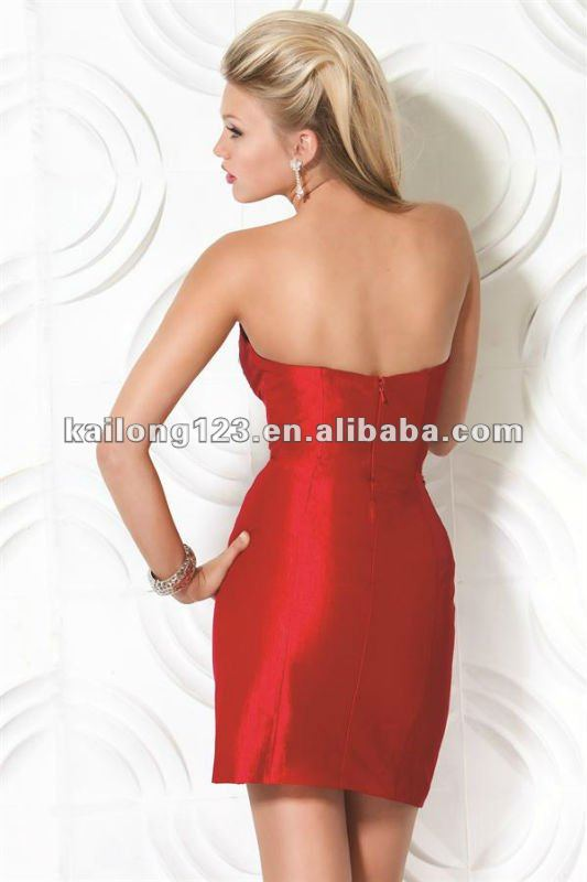 fb2b47b4612eb Brand New Sweetheart Short Beaded Sequins Red Taffeta Fitted Tight ...