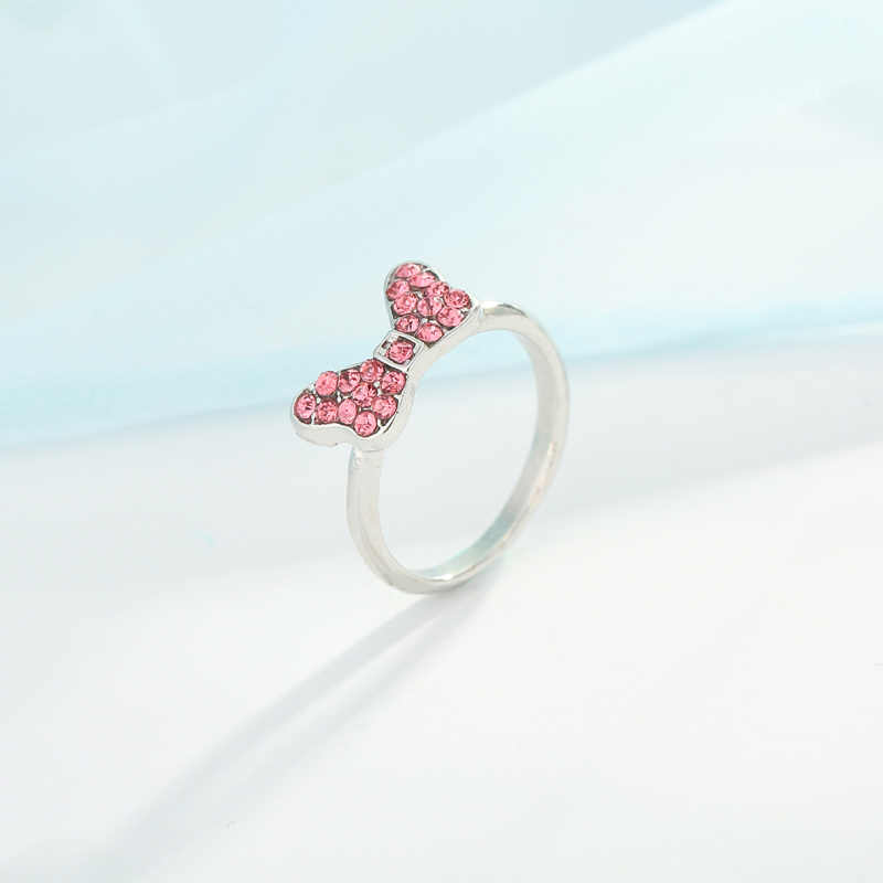 edf9ee24a Boosbiy New Arrival Silver Color Dazzling Minnie Rings With Pink Cubic  Zirconia Fits Pandora Ring For