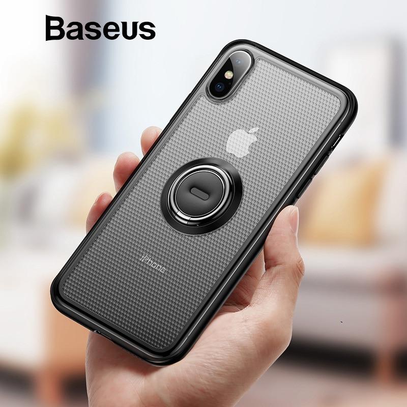 Baseus creativo teléfono caso para iPhone Xs con anillo soporte caso mate para iPhone Xs Max Xs XR 2018 magnético soporte de coche