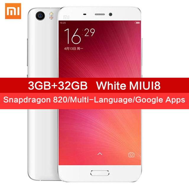 Original Xiaomi Mi5 smartphone Mi 5 Snapdragon 820 3GB RAM 32GB ROM 3000mAh Dual SIM Card 4K Video Mobile Phones Smart Phone