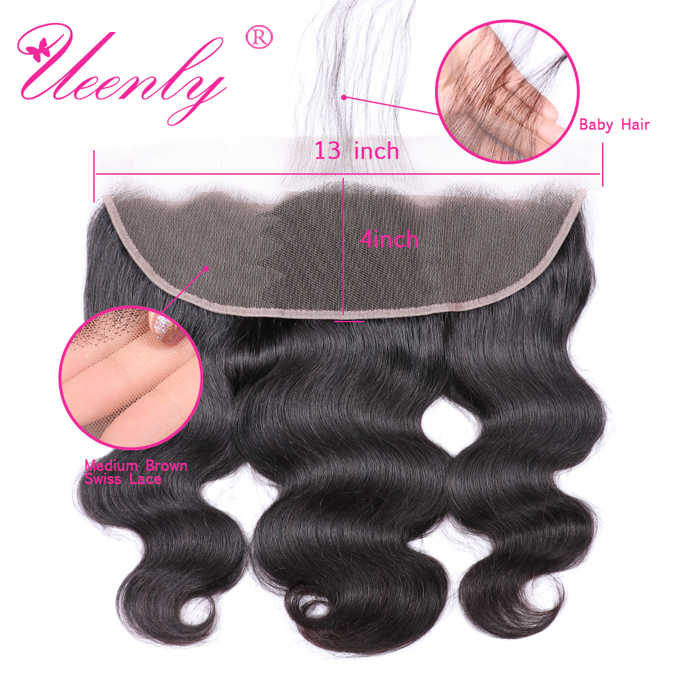 UEENLY Lace-Frontal-Closure Human-Hair Body-Wave Brazilian To Ear Free/middle/three-part