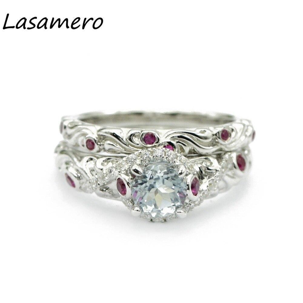 LASAMERO Rings for Women 0.6CT Round Cut Natural Diamond Rings 925 Silver Engagement Wedding Bridal Set