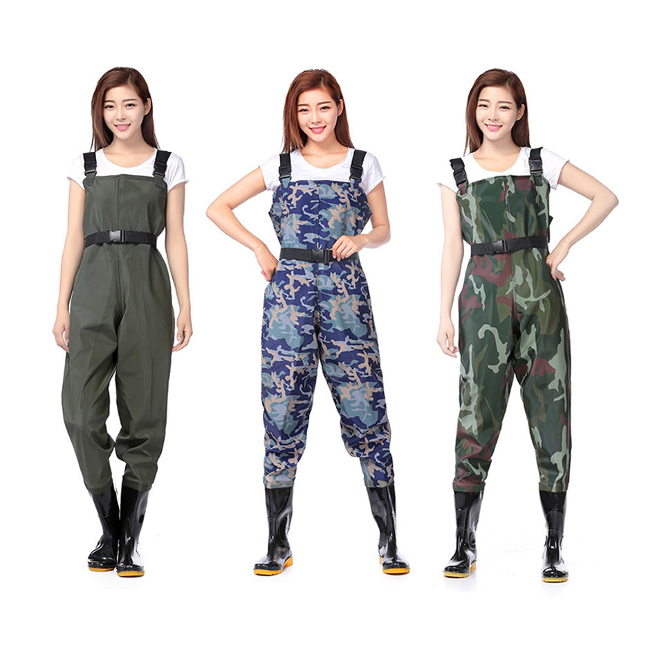 Fly Fishing Wader Chest Clothes Coverall Waterproof Hunting Pants Camouflages Wading Men Women PVC Plastic Fiber