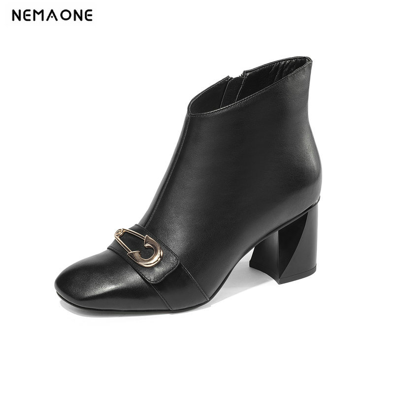 NemaoNe thick heel genuine leather women boots fashion winter high heels platform ankle boots girls motorcycle boots shoes xiangban handmade vintage motorcycle boots women high heels platform boots square heel genuine leather