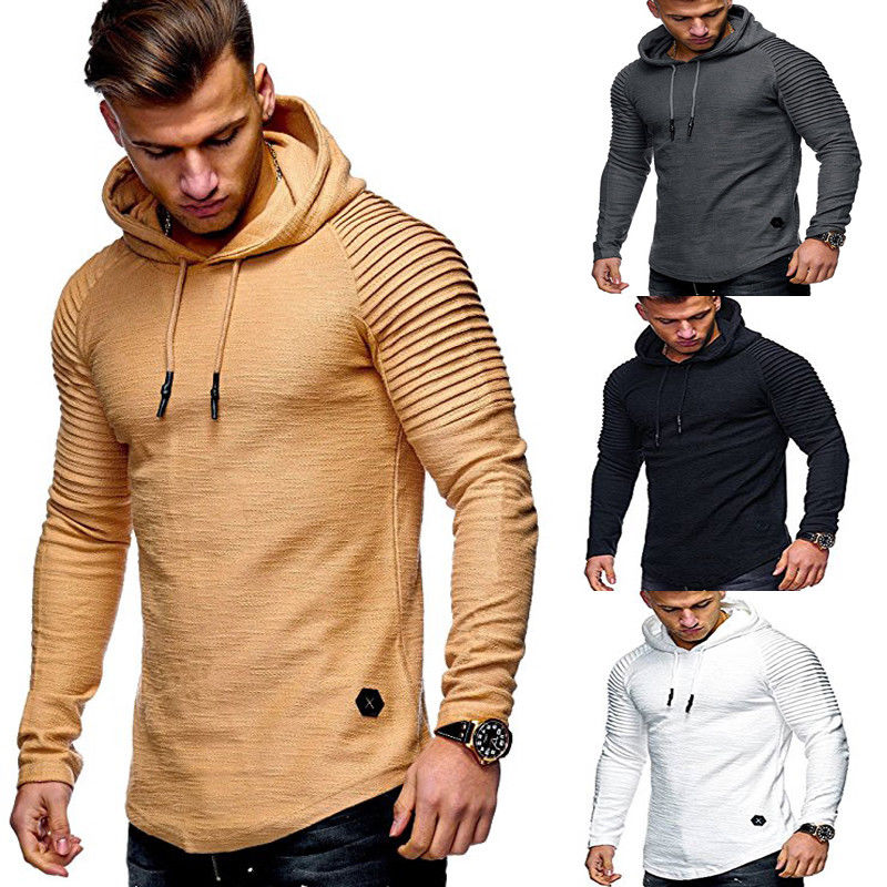 Ragan sleeve hooded men t shirt Pleated sleeve t-shirt men Longline curved hem Hip hop slim tshirt streetwear tops