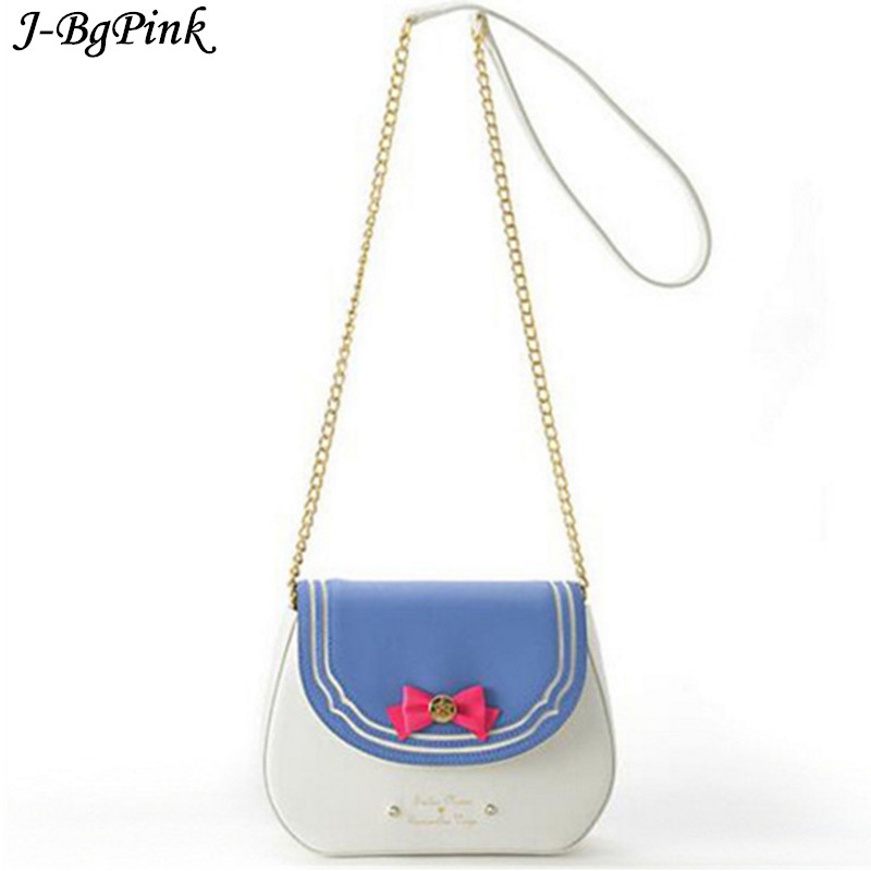 New 2018 Ladies Sailor Moon Bag Candy Color Chain Shoulder Bag PU Leather Cute Bow Handbag Women Messenger Crossbody Bag yeesupsei daily bag women leather handbag golden chain small women messenger bag candy color women shoulder bag party lock purse