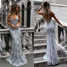 Новые пикантные Стиль женский с открытыми плечами с низким вырезом на спине платье для выпускного с пайетками вечернее платье Размеры 2 4 6 8 10 12 14 16 18+ E31
