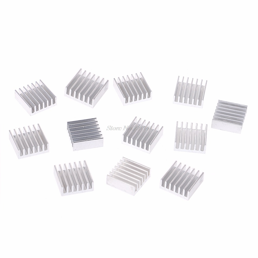 12 Pcs Silver Aluminum Radiator Heatsink Heat Sink Cooling Kit 14x14x6mm
